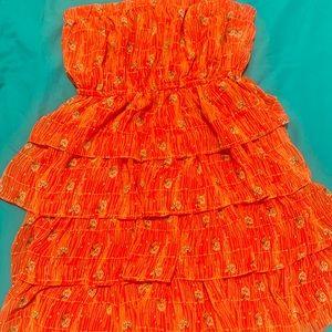 orange tube top dress